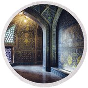 Mysterious Corridor In Persian Mosque Round Beach Towel