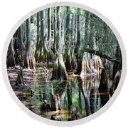 Mysterious Cypress Swamp Round Beach Towel