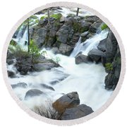 Mysterious Falls In Yosemite Round Beach Towel