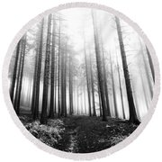 Mysterious Forest Round Beach Towel by Michal Boubin