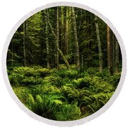 Mysterious Forest Round Beach Towel