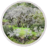 Mysterious Landscape In Sonoma County Round Beach Towel