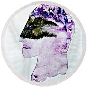 Round Beach Towel featuring the painting Mysterious  Stranger by Hartmut Jager