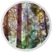 Mysterious Wood Round Beach Towel