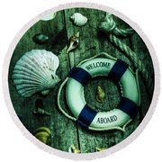 Mystery Aboard The Sunken Cruise Line Round Beach Towel