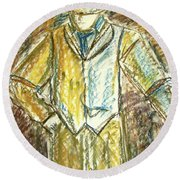 Round Beach Towel featuring the painting Mystery Man by Cathie Richardson