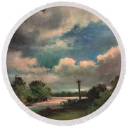 Round Beach Towel featuring the painting Mystery Of God  The Eye Of God by Randol Burns