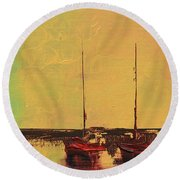 Mystic Bay Triptych 2 Of 3 Round Beach Towel