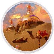 Round Beach Towel featuring the digital art Mystic Desert by Alexa Szlavics
