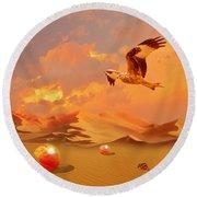 Round Beach Towel featuring the digital art Mystic Desert Another Planet by Alexa Szlavics