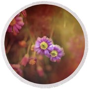 Mystic Flowers Round Beach Towel