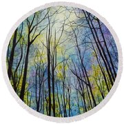 Round Beach Towel featuring the painting Mystic Forest by Hailey E Herrera