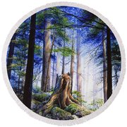 Mystic Forest Majesty Round Beach Towel