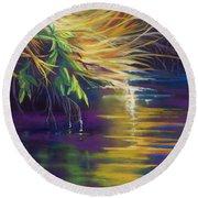 Mystic Grasses Round Beach Towel