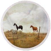 Mystic Horses  Round Beach Towel