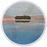 Round Beach Towel featuring the painting Mystic Island by Kenneth M  Kirsch