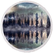 Mystic Lake Round Beach Towel