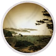 Mystic Landscapes Round Beach Towel