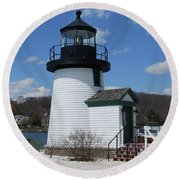 Mystic Lighthouse Round Beach Towel by Gordon Mooneyhan