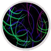 Round Beach Towel featuring the digital art Mystic Lights 9 by Donna Corless