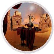 Round Beach Towel featuring the digital art Mystic Ruins In Desert by Alexa Szlavics