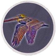 Mystical Brown Pelican Soaring Spirit Round Beach Towel