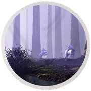Mystical Forest Round Beach Towel