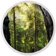 Mystical Forest Opening Round Beach Towel