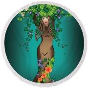 Mystical Maiden Tree Round Beach Towel by Serena King