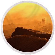 mystical view from Mt bromo Round Beach Towel