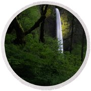 Mystical Waterfall 2 Round Beach Towel