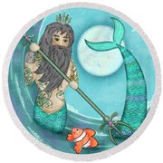 N Is For Neptune Round Beach Towel