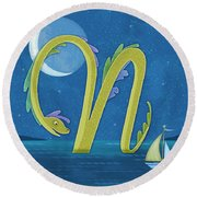 N Is For Nessie Round Beach Towel