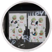 Round Beach Towel featuring the photograph N Y C Kermit by Rob Hans