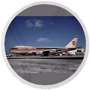 N17011, Continental Airlines, Boeing 747-143 Round Beach Towel