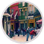 Round Beach Towel featuring the photograph Triana On A Sunday Afternoon 1 by Mary Machare