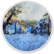 Naantali Old Town In Winter Round Beach Towel