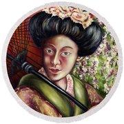 Round Beach Towel featuring the painting Nadeshiko by Hiroko Sakai