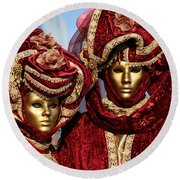 Nadine And Daniel In Red 2 Round Beach Towel