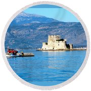 Round Beach Towel featuring the photograph Naflion Greece Harbor Fortress by Phyllis Kaltenbach