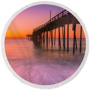 Nags Head Avon Fishing Pier At Sunrise Round Beach Towel
