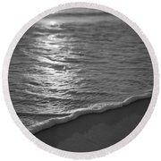 Nags Head First Light Bw Round Beach Towel