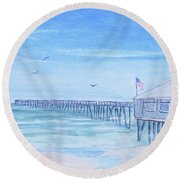 Nags Head Pier Round Beach Towel