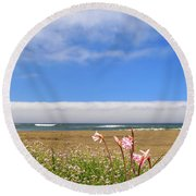 Round Beach Towel featuring the photograph Naked Ladies At The Beach by James Eddy