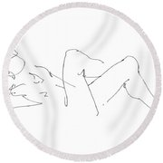 Naked-male-drawing-14 Round Beach Towel