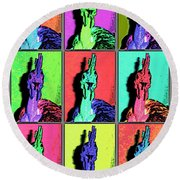 Naked Neck Rooster Warhol Style Round Beach Towel