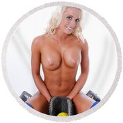 Naked Softball Round Beach Towel