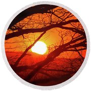 Naked Tree At Sunset, Smith Mountain Lake, Va. Round Beach Towel