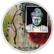 Namaste Buddha Round Beach Towel
