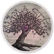 Round Beach Towel featuring the drawing Namaste Love Tree by Aaron Bombalicki